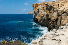 Blue hole and the collapsed Azure window. Gozo, Malta Stock Images