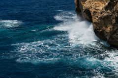Blue hole and the collapsed Azure window. Gozo, Malta Royalty Free Stock Photo