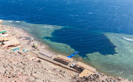 Blue Hole, Dahab, Egypt. Blue Hole is a popular diving location on east Sinai, a few kilometres north of Dahab, Egypt on the coast of the Red Sea Stock Image