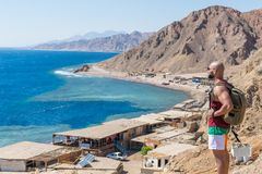 Blue hole, Dahab, Sinai, Red Sea, Egypt. Dahab/Egypt - 10/25/2018: Blue Hole is a popular diving location on east Sinai, a few kilometres north of Dahab, Egypt stock image