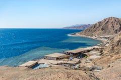 Blue hole, Dahab, Sinai, Red Sea, Egypt. Blue Hole is a popular diving location on east Sinai, a few kilometres north of Dahab, Egypt on the coast of the Red Sea royalty free stock image