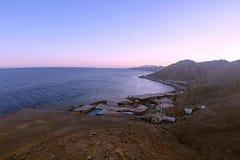 Sunset in Blue hole Dahab Egypt royalty free stock photo