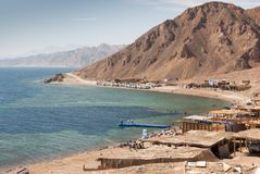 Blue Hole is a popular diving location on east Sinai, a few kilometres north of Dahab, Egypt on the coast of the Red Sea royalty free stock image
