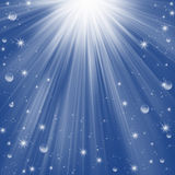 Blue holiday background. With many balls, stars and snowflake Royalty Free Stock Images