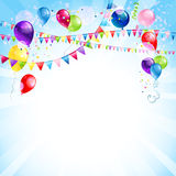 Blue holiday background with balloons stock illustration