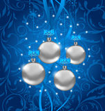 Blue holiday background with Christmas balls Stock Photo
