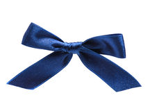 Blue holiday bow on white background Royalty Free Stock Photo