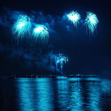 Blue holiday fireworks Stock Photography