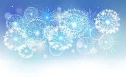 Blue holiday fireworks. Vector holiday firework in the sky Royalty Free Stock Photos