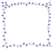 Blue Holiday Lights Frame for Hanukkah or Christmas Stock Photos