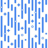 Blue holiday pattern. Vector seamless festive pattern with magic flashes, stars, rounded corners. Parallel vertical lines pattern. Pattern background. Abstract Stock Image