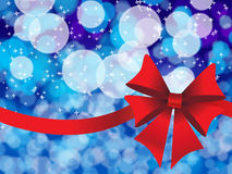 Blue holiday's background with red bow Royalty Free Stock Photos