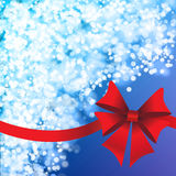 Blue holiday's background with red bow Royalty Free Stock Image