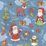 Blue holiday seamless pattern. Stock Images