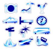 Blue Holiday and Travel Stickers Royalty Free Stock Images