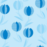 Blue holland style tulip flower seamless pattern. Royalty Free Stock Images