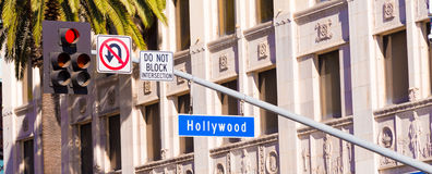 Blue Hollywood Street sign Stock Image