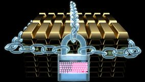 Blue holographic chains and a holograph digital lock protecting stack of gold bars Royalty Free Illustration