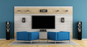 Blue home cinema. Blue living room with home cinema system and two armchair- 3d rendering Stock Image