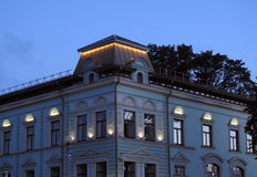 Blue home in evening, Latvia Royalty Free Stock Images