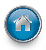Blue home icon Stock Image