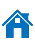 Blue home icon. Drawing on a white background Royalty Free Stock Photo