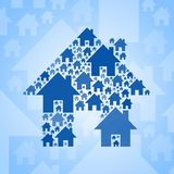 Blue home symbol on light blue background Royalty Free Stock Image
