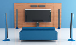 Blue home theater. Contemporay blue home theater with couch - rendering Stock Photography