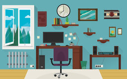 Blue home work room. Stock Photo