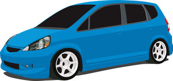 Blue Honda Fit. A Vector .eps illustration of a Honda Fit. Saved in layers for easy editing. See my portfolio for more automotive images vector illustration