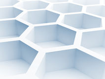 Blue honeycomb structure. 3d render. Abstract architecture background with blue honeycomb structure. 3d render illustration Royalty Free Stock Photography