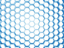 Blue honeycomb structure isolated on white. Background. 3d render illustration Royalty Free Stock Photography