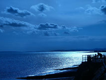 Blue horizon MID WALES. Sea front in wales in blue Royalty Free Stock Photos