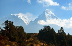 Blue horizon of Annapurna 1 I and Annapurna south royalty free stock image