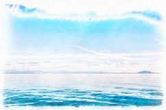 Blue Horizon Digital Watercolor Painting. A digital watercolor painting of the blue horizon just off the coast of Thailand Stock Images