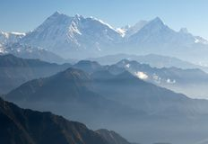 Blue horizons - view of Annapurna Himal Royalty Free Stock Photo