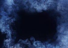 Blue Horizontal Smoke Frame on Black Background royalty free stock photos