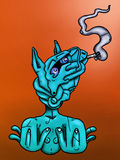 Blue Horse. Surreal digital illustration of a blue horse-faced figure smoking a cigarette Royalty Free Stock Images