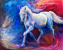 Blue horse. Original abstract oil painting of a beautiful blue horse running.Modern Impressionism.Painting is related to year 2014-year of the blue horse royalty free stock image