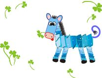 Blue horse. With green clovers Stock Image