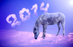 Blue horse on a cloud. New year 2014, blue horse on a cloud Stock Illustration