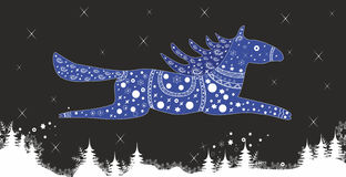 Blue Horse.Festive Christmas illustration. Stock Photo