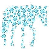 Blue horse of flowers Royalty Free Stock Photography