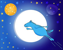 Blue Horse,. Flying in space blue horse Stock Photo