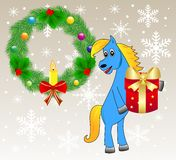 Blue horse with a gift. Festive christmas background with a horse and chaplet from a silver fir,    illustration Stock Photography