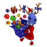 Blue horse with gifts Royalty Free Stock Photo