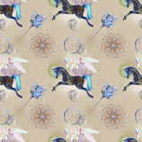 Blue horse on pattern Royalty Free Stock Images