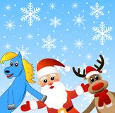 Blue horse, Santa claus and deer. Illustration Stock Images