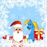 Blue horse and Santa claus. Illustration Stock Photos