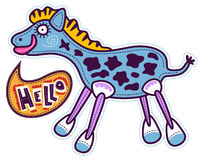 Blue horse says Hello. Standing blue horse with pink legs and a white with blue hooves. Yellow mane and big pink lips. The horse says hello. The dark spots on Stock Photography